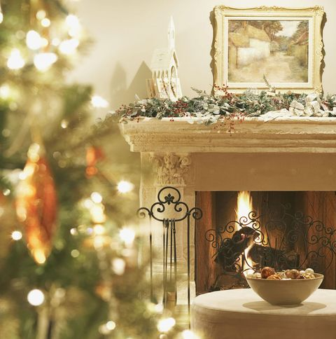 christmas at home foliage by the fireplace - Fireplace Christmas Decorations