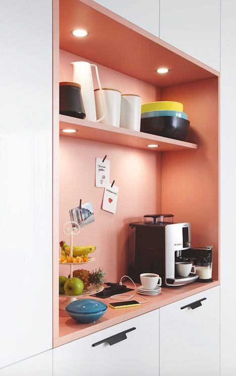 Pink Kitchen Cabinet Shelf