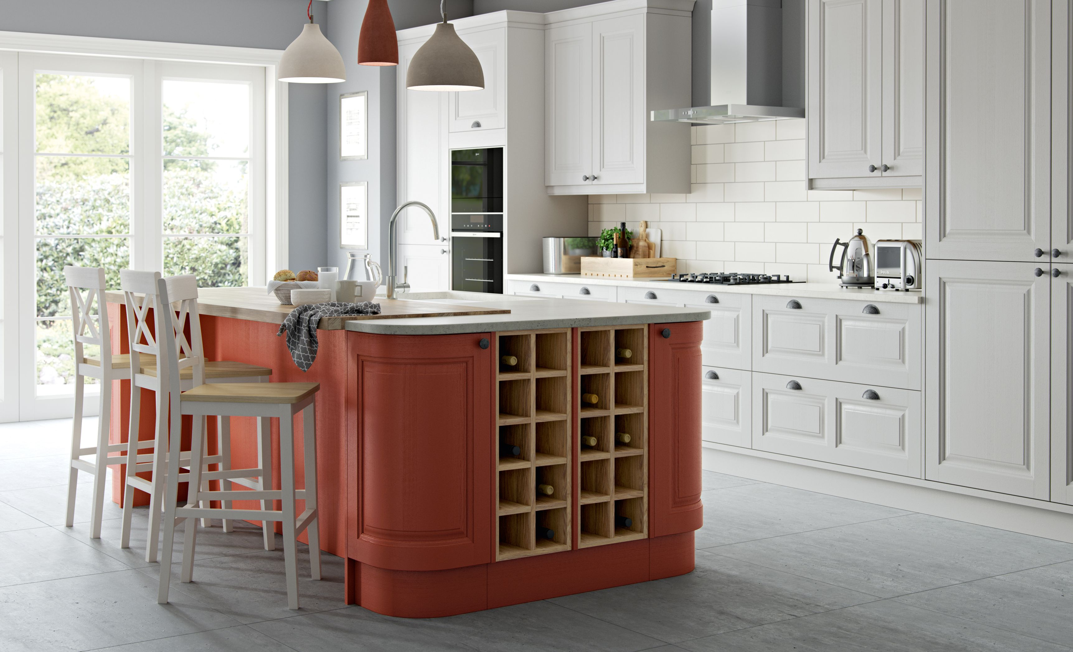 Masterclass Kitchens - Scotts Grey and Terracotta Sunset colour scheme - Carnegie kitchen