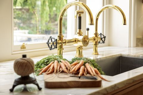 Brass taps - Georgian Manor Kitchen