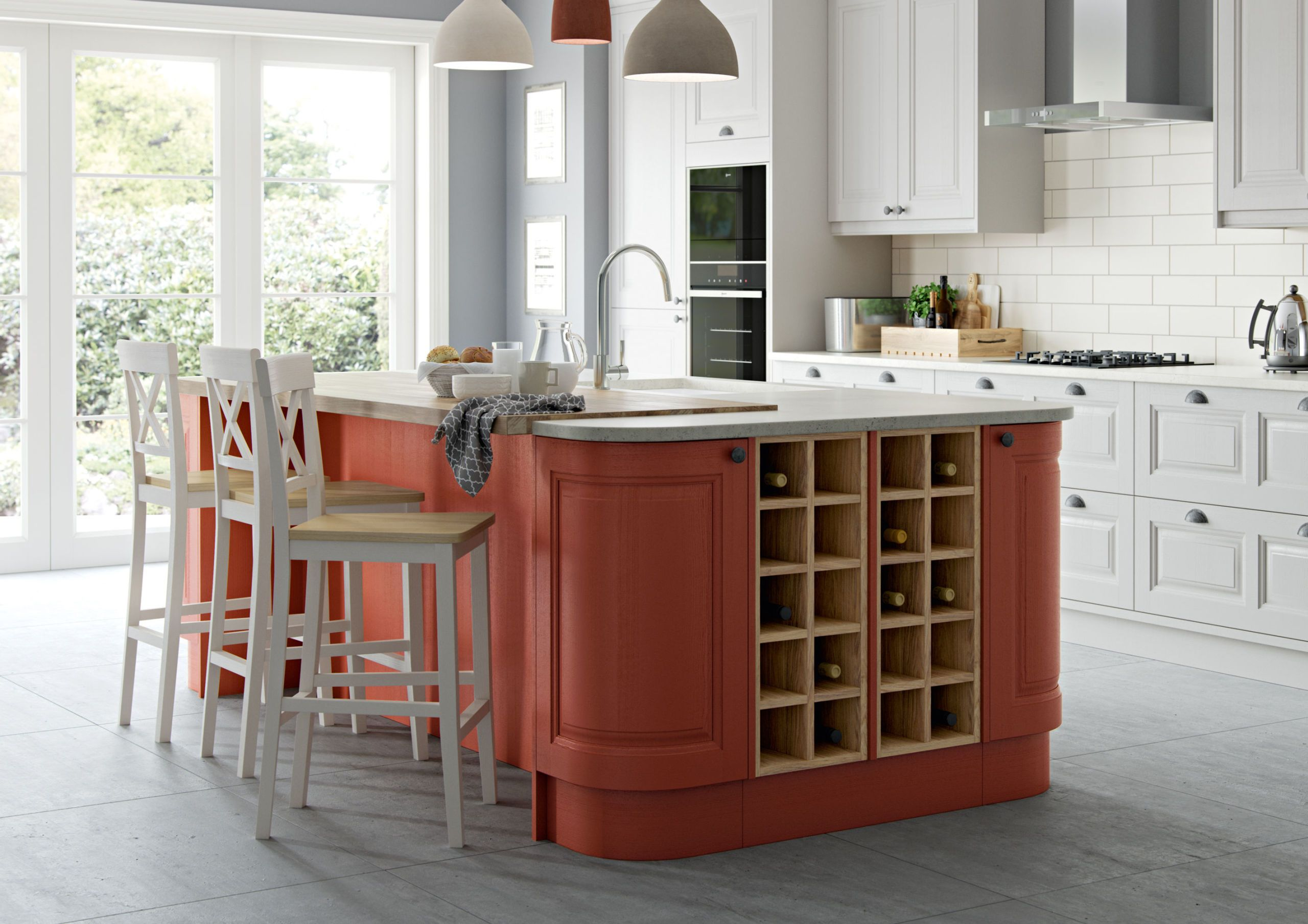 Masterclass Kitchens   Scotts Grey And Terracotta Sunset Colour Scheme    Carnegie Kitchen