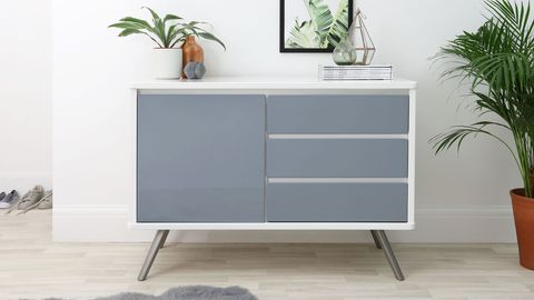 Assi Compact White and Grey Gloss Sideboard