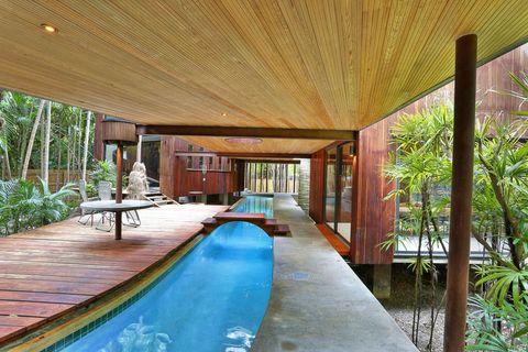 Property, Resort, Real estate, Interior design, Ceiling, Swimming pool, Hardwood, Shade, Lobby, Interior design,