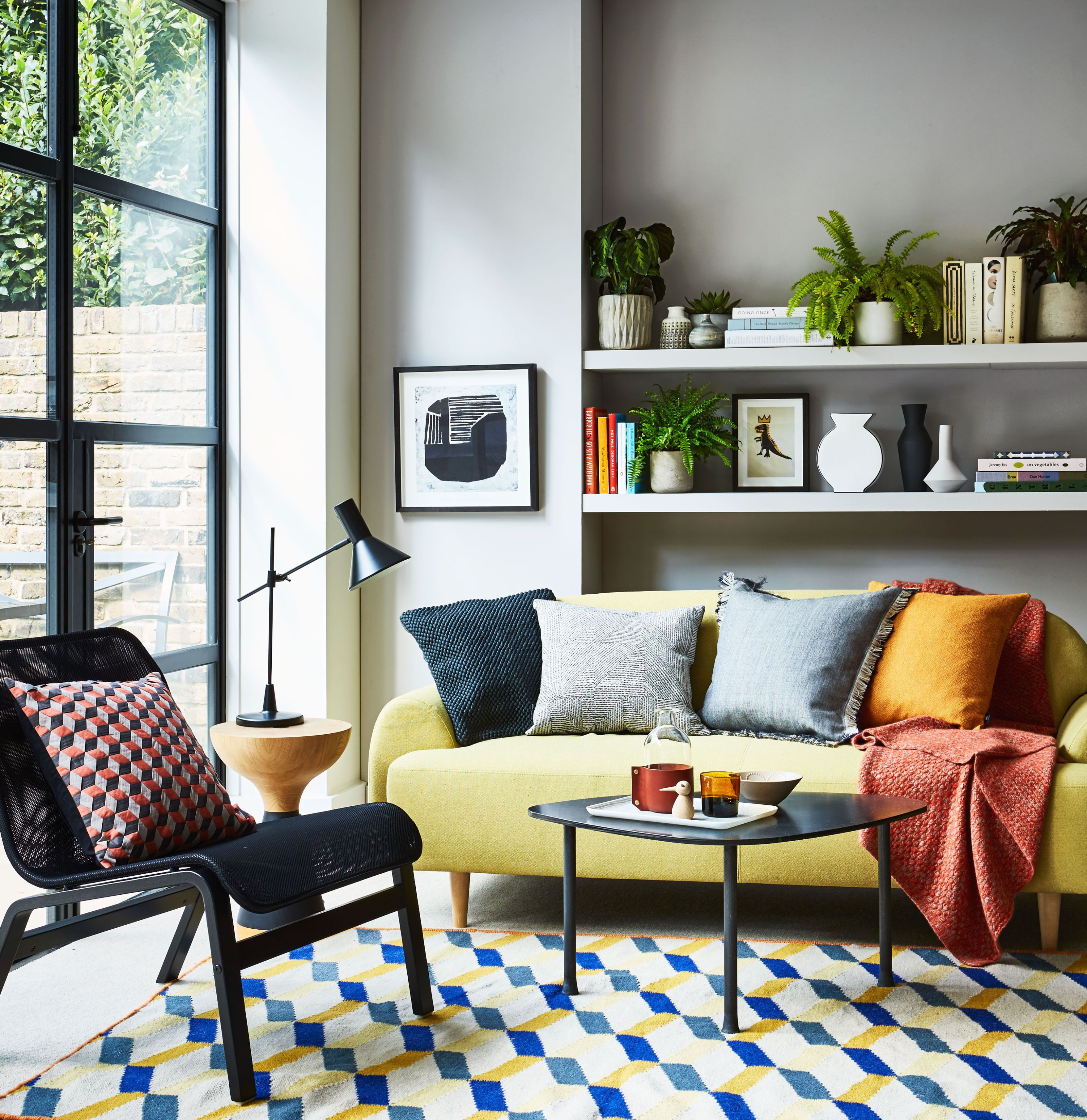 Yellow and grey colour scheme living room - styling by Kiera Buckley-Jones photography & How To Make Your Living Room Look Lighter Brighter and Bigger ...