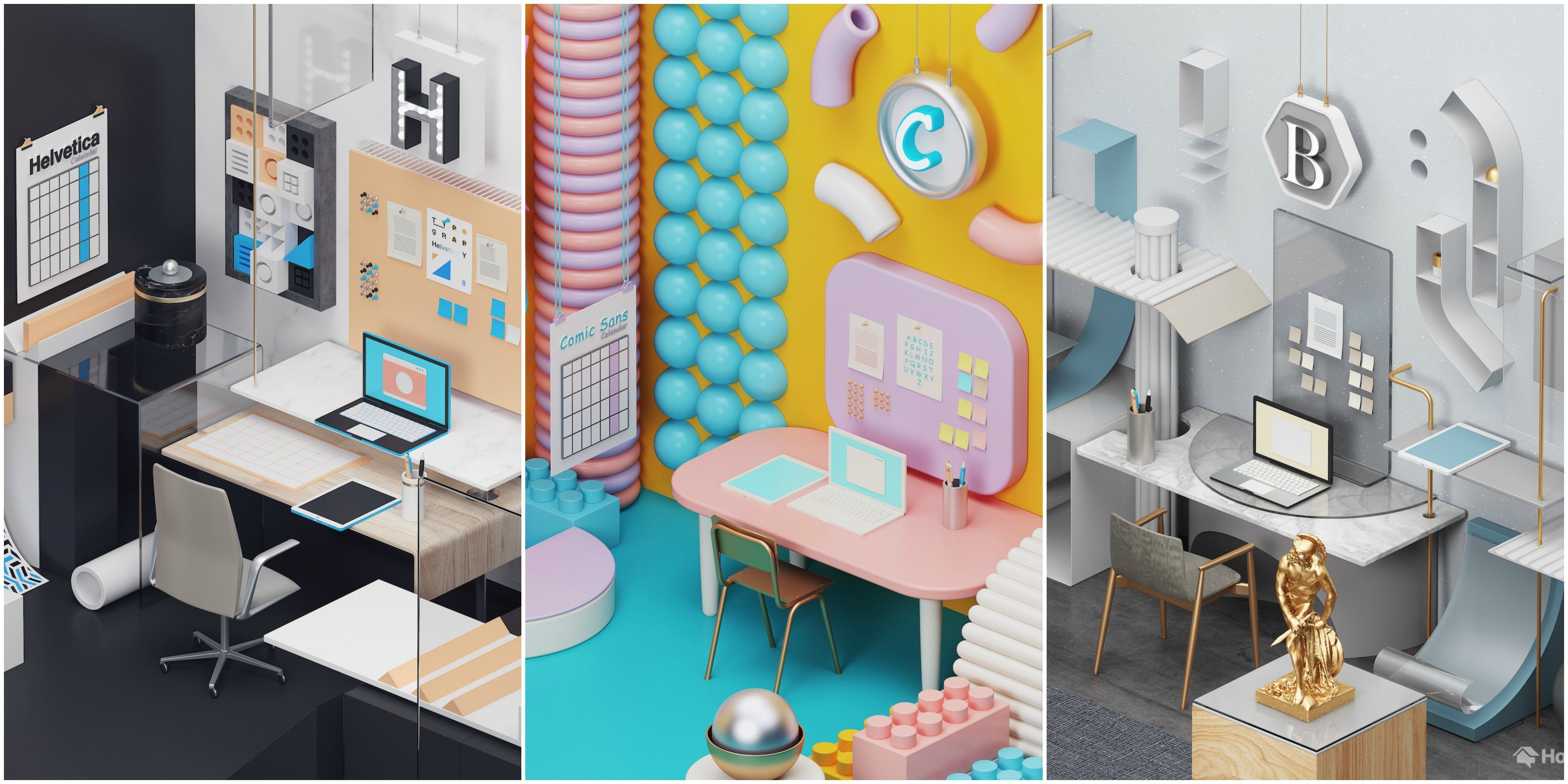 graphic design home office. home office designs inspired by computer fonts
