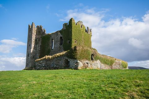 The old ruins of Ballycarbery castle on the Ring Of Kerry, Ireland