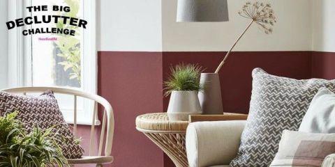 Red hued living room - The Big Declutter Challenge