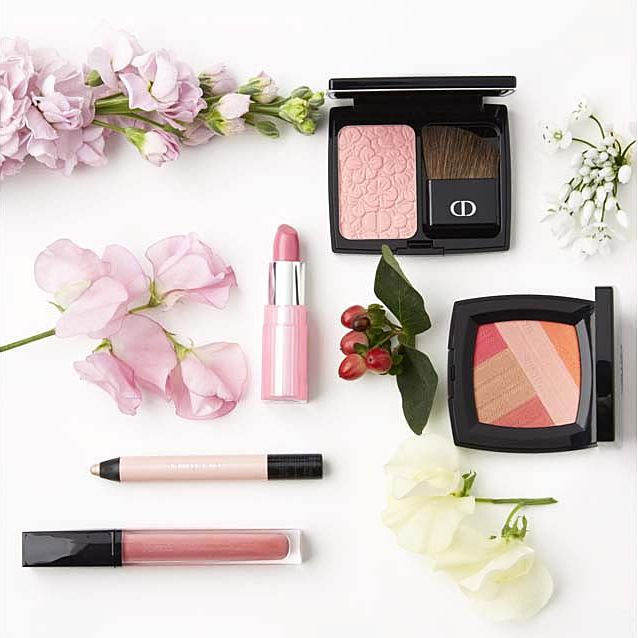 Petal, Pink, Lipstick, Cosmetics, Peach, Lavender, Tints and shades, Artificial flower, Eye shadow, Still life photography,