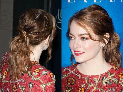 Hair, Ear, Hairstyle, Earrings, Eyelash, Style, Beauty, Brown hair, Eye liner, Hair coloring,