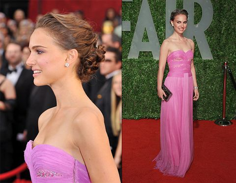 Red carpet, Hair, Dress, Carpet, Shoulder, Clothing, Pink, Gown, Flooring, Strapless dress,