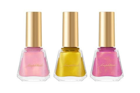 Nail polish, Nail care, Cosmetics, Yellow, Pink, Product, Magenta, Glass bottle, Material property, Nail,