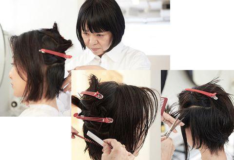 Hair, Hairstyle, Black hair, Bangs, Head, Ear, Forehead, Long hair, Hair coloring, Hime cut,