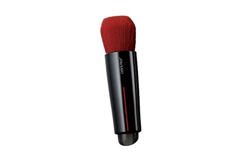 Microphone, Red, Brush, Makeup brushes, Material property, Technology, Audio equipment, Cosmetics, Electronic device, Tool,