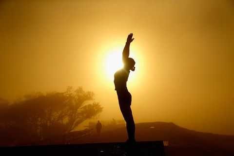 People in nature, Backlighting, Physical fitness, Yoga, Sky, Silhouette, Standing, Morning, Balance, Sunset,