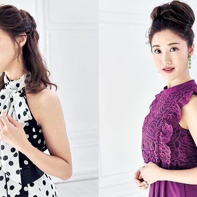 Hair, Clothing, Neck, Shoulder, Hairstyle, Purple, Dress, Beauty, Fashion model, Fashion,