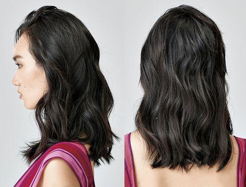 Hair, Hairstyle, Chin, Black hair, Long hair, Layered hair, Hair coloring, Human, Brown hair, Step cutting,