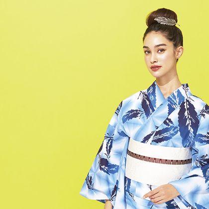 Clothing, Kimono, Hairstyle, Costume, Yellow, Fashion model, Fashion, Photo shoot, Fashion design, Dress,