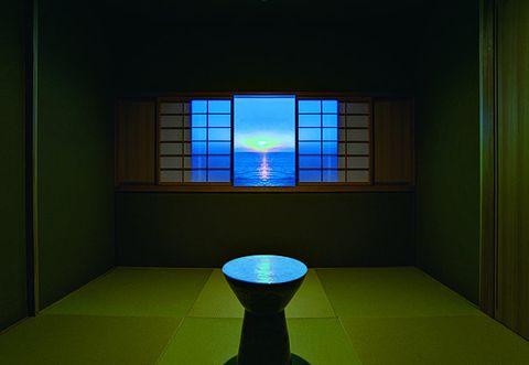Green, Blue, Light, Room, Architecture, Lighting, Window, Interior design, House, Symmetry,