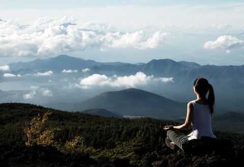 People in nature, Sky, Mountainous landforms, Mountain, Hill station, Hill, Cloud, Highland, Atmospheric phenomenon, Sitting,