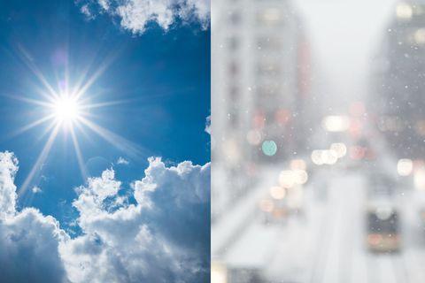 Sky, Cloud, Daytime, Blue, Light, Lens flare, Sun, Sunlight, Atmosphere, Meteorological phenomenon,