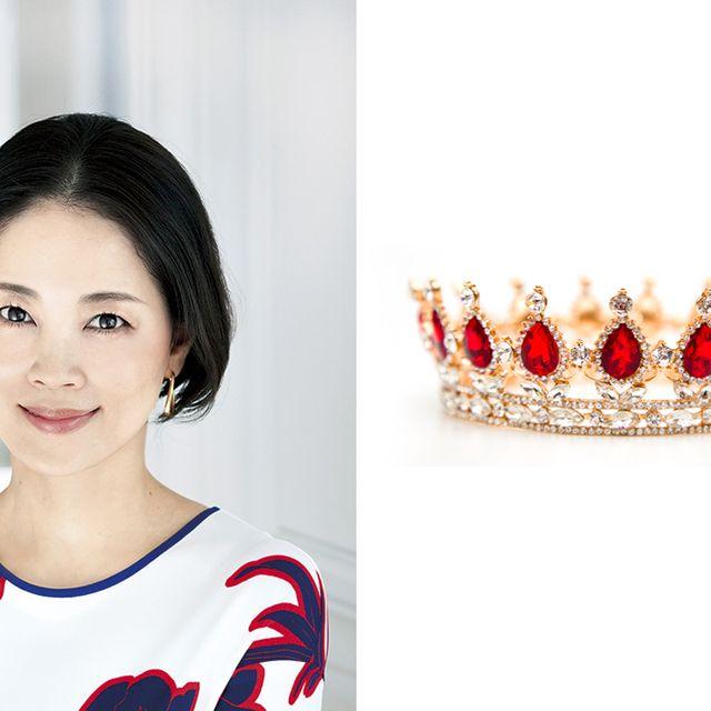 Crown, Red, Headpiece, Ear, Lip, Head, Skin, Beauty, Jewellery, Fashion accessory,