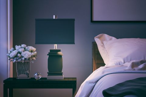 Blue, Room, Interior design, Wall, Bed, Purple, Furniture, Linens, Display device, Bedding,