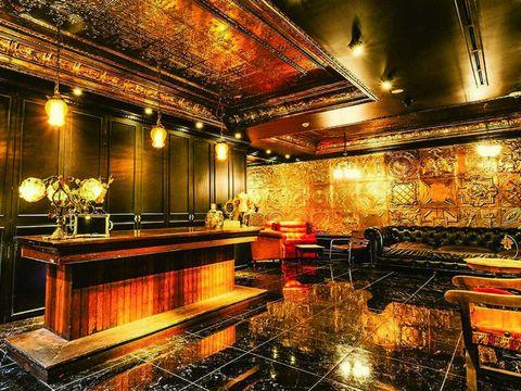 Lighting, Architecture, Interior design, Building, Room, Night, Lobby, Floor, Furniture, Music venue,