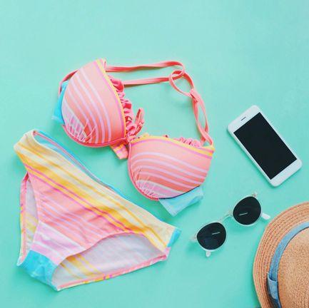 pink, bikini, turquoise, swimwear, peach,
