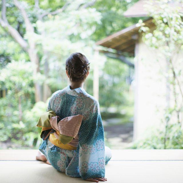 Photograph, Sitting, Child, Costume, Room, Photography, Tree, Textile, Window, Kimono,