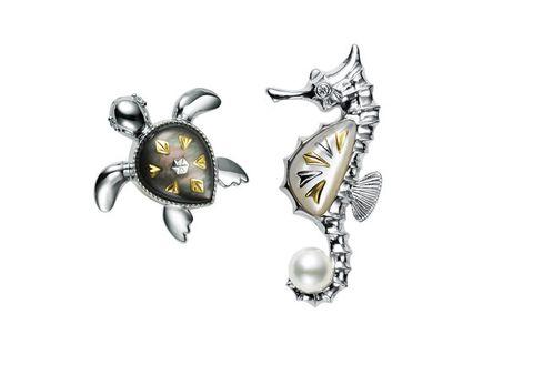 Jewellery, Body jewelry, Fashion accessory, Earrings, Brooch, Pearl, Seahorse, Gemstone, Silver, Silver,