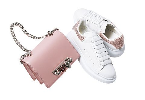 Footwear, White, Product, Shoe, Pink, Fashion accessory, Font, Metal, Sneakers,
