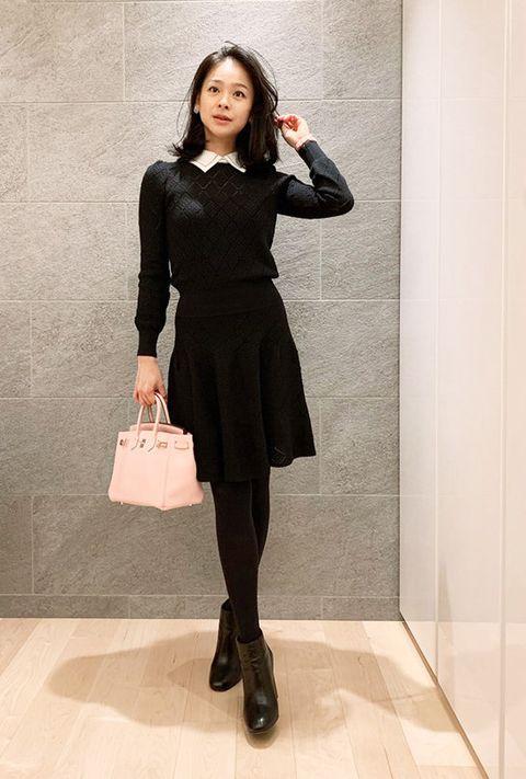 Clothing, Black, Dress, Fashion, Tights, Little black dress, Shoulder, Footwear, Fashion model, Neck,