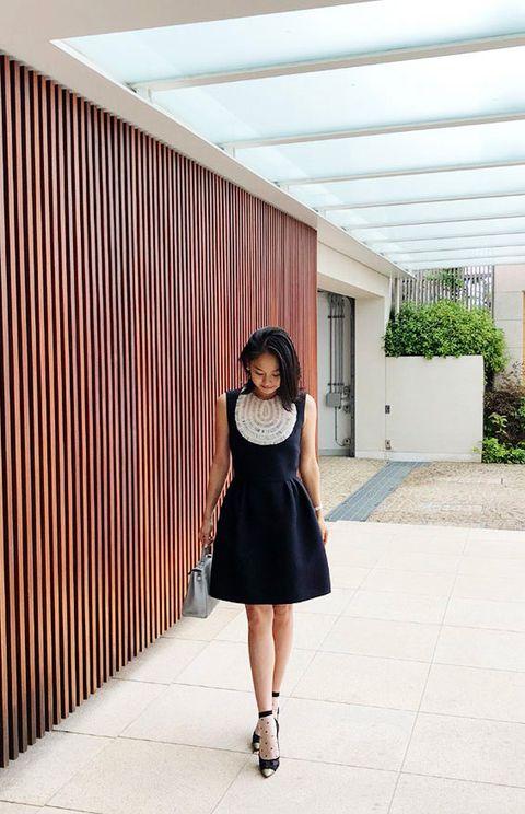 Clothing, White, Black, Photograph, Shoulder, Street fashion, Waist, Dress, Beauty, Footwear,