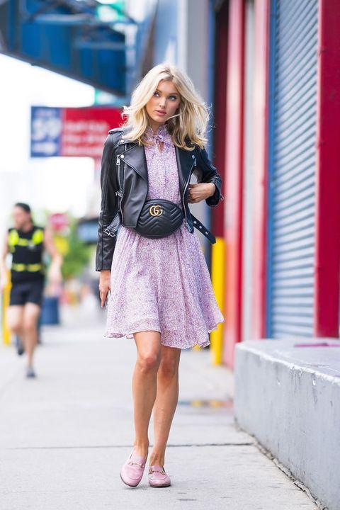 Clothing, Street fashion, Photograph, Fashion, Pink, Snapshot, Footwear, Yellow, Jacket, Dress,