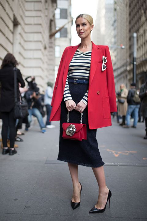 Clothing, Street fashion, Fashion, Red, Snapshot, Shoulder, Outerwear, Coat, Footwear, Blazer,