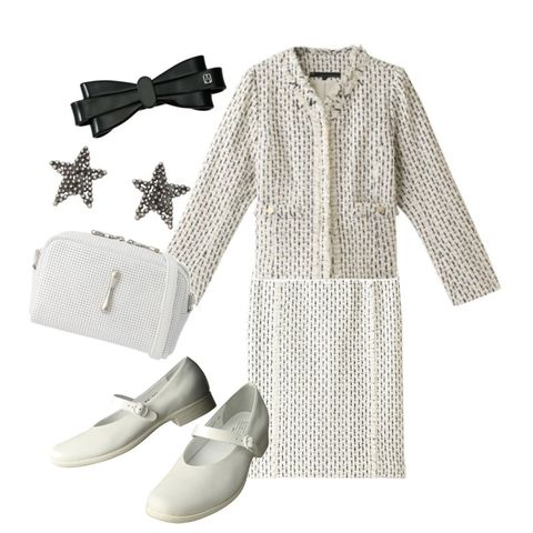 White, Clothing, Footwear, Dress, Blouse, Beige, Shoe, Sleeve, Design, Outerwear,
