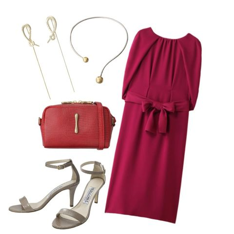 Clothing, Pink, Dress, Red, Purple, Magenta, Footwear, Sleeve, Fashion accessory, Cocktail dress,