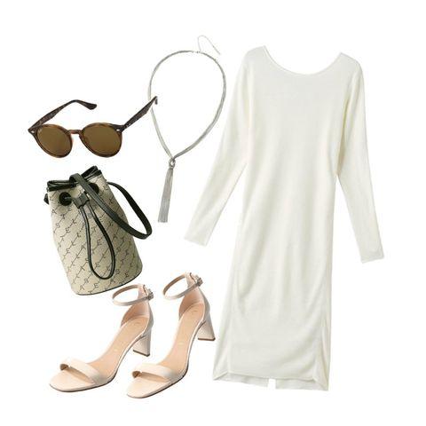 White, Clothing, Dress, Footwear, Sleeve, Beige, T-shirt, Shoe, Neck, Top,