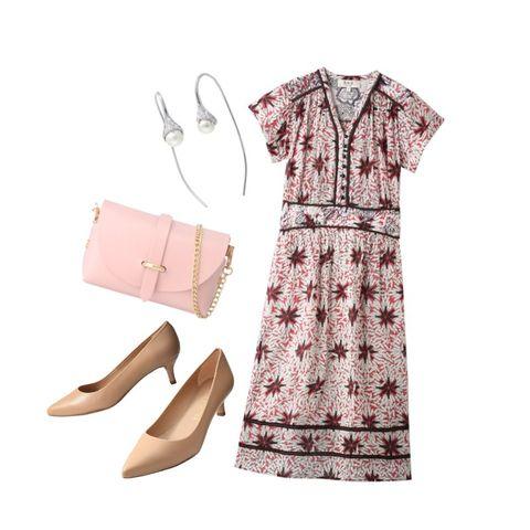 Clothing, White, Pink, Dress, Footwear, Sleeve, Day dress, Pattern, Beige, Design,