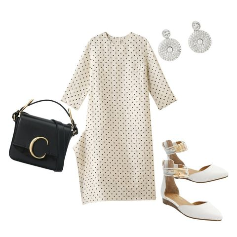 White, Clothing, Polka dot, Product, Pattern, Beige, Sleeve, Dress, Design, Fashion,