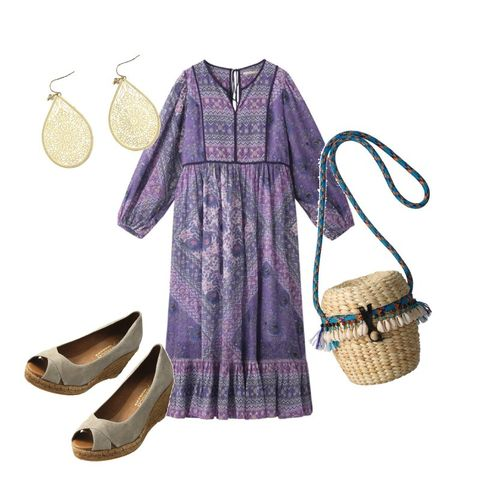 Clothing, Purple, Violet, Dress, Footwear, Lavender, Sleeve, Pattern, Shoe, Day dress,