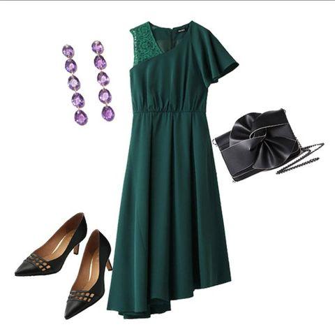 Clothing, Green, Dress, Purple, Footwear, Fashion, Sleeve, Day dress, Little black dress, Cocktail dress,
