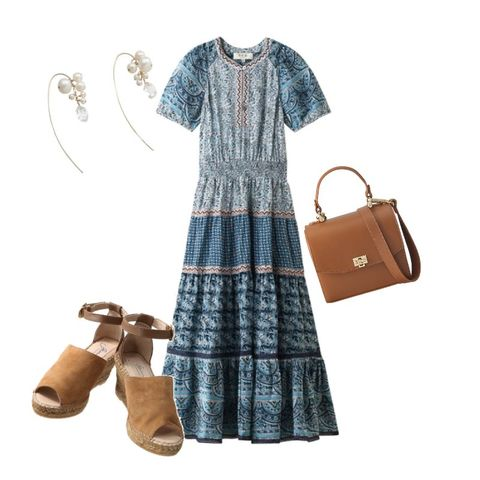 Clothing, Plaid, Blue, Dress, Product, Day dress, Brown, Pattern, Sleeve, Footwear,