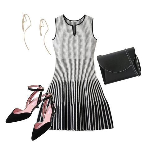 Clothing, White, Black, Dress, Footwear, Pink, Little black dress, Fashion, Sleeve, Day dress,