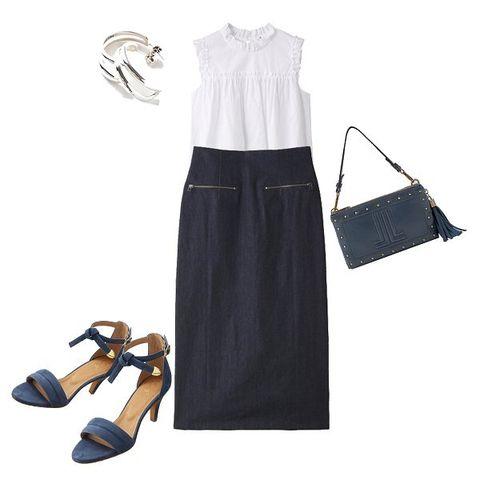 Clothing, White, Black, Dress, Pencil skirt, Fashion, Footwear, Denim, Jeans, Day dress,