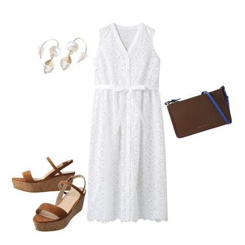 White, Clothing, Dress, Brown, Footwear, Beige, Shoe, Robe, Sleeve, Outerwear,