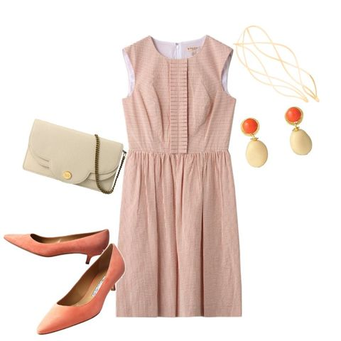 Clothing, Dress, White, Pink, Yellow, Beige, Footwear, Day dress, Sleeve, Neck,