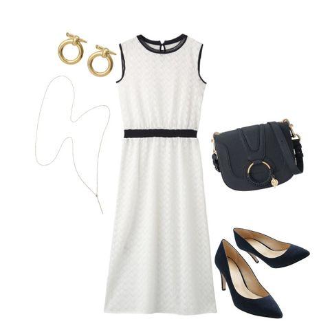 White, Clothing, Black, Dress, Footwear, Little black dress, Beige, Shoe, Font, Sleeve,