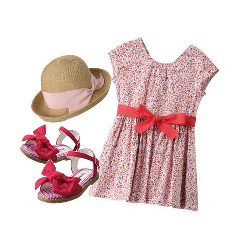 Clothing, Pink, Hat, Sun hat, Product, Footwear, Dress, Fashion accessory, Headgear, Beige,