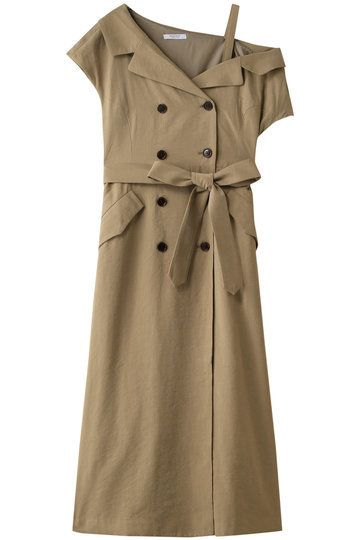 Clothing, Trench coat, Day dress, Dress, Coat, Outerwear, Sleeve, Beige, Cocktail dress,